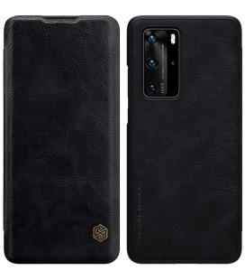 """Odinis juodas atverčiamas dėklas Huawei P40 Pro telefonui """"Nillkin Qin"""""""