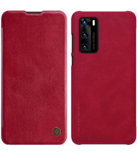 """Odinis raudonas atverčiamas dėklas Huawei P40 telefonui """"Nillkin Qin"""""""