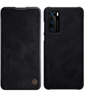 """Odinis juodas atverčiamas dėklas Huawei P40 telefonui """"Nillkin Qin"""""""