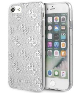 """Sidabrinės spalvos dėklas Apple iPhone 8/SE 2020 telefonui """"GUHCI8PCU4GLSI Guess Glitter 4G Peony Cover"""""""