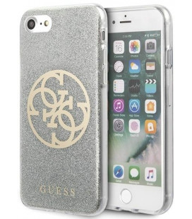 "Pilkas dėklas Apple iPhone 8/SE 2020 telefonui ""GUHCI8PCUGLLG Guess Glitter 4G Circle Cover"""