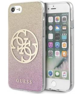 """Rausvai auksinės spalvos dėklas Apple iPhone 8/SE 2020 telefonui """"GUHCI8PCUGLPGG Guess Glitter 4G Circle Cover"""""""