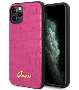 "Rožinis dėklas Apple iPhone 11 Pro Max telefonui ""GUHCN65PCUMLCRPI Guess Croco Cover"""