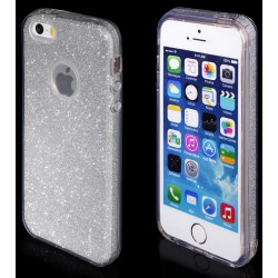 """Sidabrinės spalvos silikoninis blizgantis dėklas Apple iPhone 5/5s/SE telefonui """"Blink"""""""