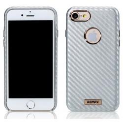 """Sidabrinės spalvos dėklas Apple iPhone 7 telefonui """"Remax Carbon"""""""