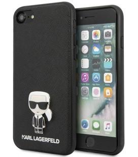 "Juodas dėklas Apple iPhone 8/SE 2020 telefonui ""KLHCI8IKFBMBK Karl Lagerfeld Saffiano Iconic Cover"""