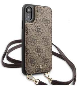 "Rudas dėklas Apple iPhone XR telefonui ""GUHCI61CB4GB Guess 4G Crossbody Cardslot Cover"""