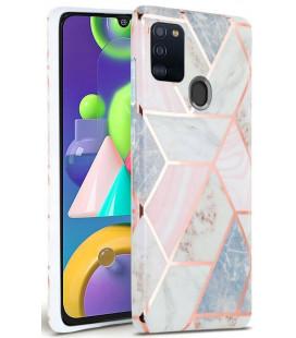 """Rožinis dėklas su marmuro efektu Samsung Galaxy A21S telefonui """"Tech-Protect Marble"""""""