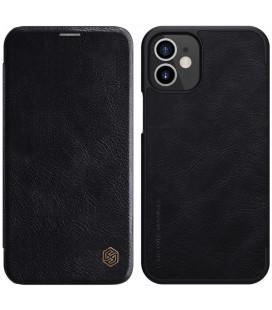 """Odinis juodas atverčiamas dėklas Apple iPhone 12 Mini telefonui """"Nillkin Qin"""""""
