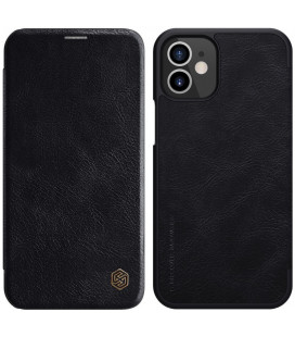 """Odinis juodas atverčiamas dėklas Apple iPhone 12 telefonui """"Nillkin Qin"""""""