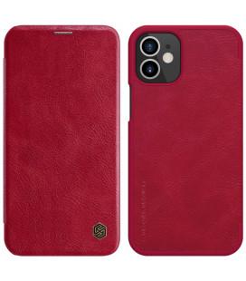 """Odinis raudonas atverčiamas dėklas Apple iPhone 12 Mini telefonui """"Nillkin Qin"""""""
