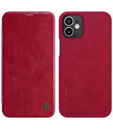 """Odinis raudonas atverčiamas dėklas Apple iPhone 12 telefonui """"Nillkin Qin"""""""