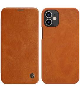 """Odinis rudas atverčiamas dėklas Apple iPhone 12 Mini telefonui """"Nillkin Qin"""""""