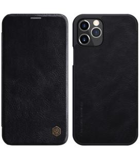 """Odinis juodas atverčiamas dėklas Apple iPhone 12/12 Pro telefonui """"Nillkin Qin"""""""