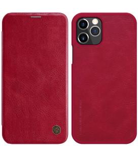 """Odinis raudonas atverčiamas dėklas Apple iPhone 12/12 Pro telefonui """"Nillkin Qin"""""""