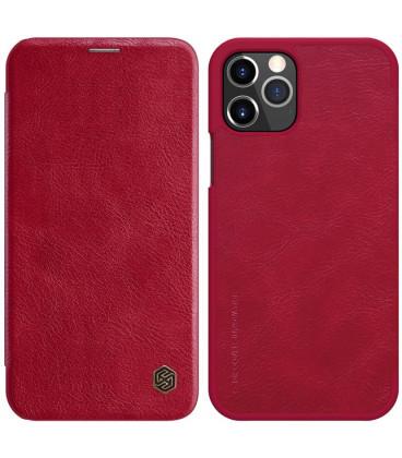 """Odinis raudonas atverčiamas dėklas Apple iPhone 12 Pro / 12 Max telefonui """"Nillkin Qin"""""""