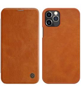 """Odinis rudas atverčiamas dėklas Apple iPhone 12/12 Pro telefonui """"Nillkin Qin"""""""
