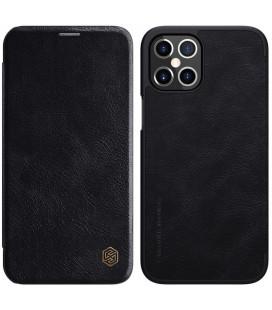"""Odinis juodas atverčiamas dėklas Apple iPhone 12 Pro Max telefonui """"Nillkin Qin"""""""