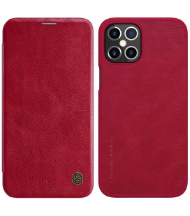 """Odinis raudonas atverčiamas dėklas Apple iPhone 12 Pro Max telefonui """"Nillkin Qin"""""""