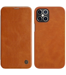 """Odinis rudas atverčiamas dėklas Apple iPhone 12 Pro Max telefonui """"Nillkin Qin"""""""
