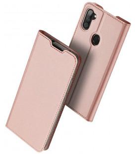 """Rausvai auksinės spalvos atverčiamas dėklas Samsung Galaxy M11 telefonui """"Dux Ducis Skin Pro"""""""