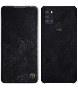"""Odinis juodas atverčiamas dėklas Samsung Galaxy A21S telefonui """"Nillkin Qin"""""""