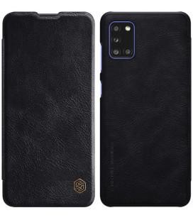 """Odinis juodas atverčiamas dėklas Samsung Galaxy A31 telefonui """"Nillkin Qin"""""""