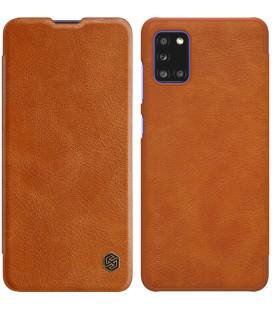 """Odinis rudas atverčiamas dėklas Samsung Galaxy A31 telefonui """"Nillkin Qin"""""""