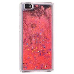 """Raudonas silikoninis dėklas su blizgučiais Huawei P9 Lite telefonui """"Water Case Stars"""""""