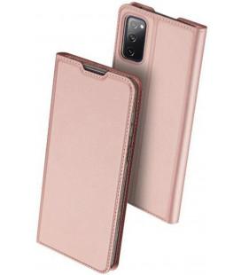 """Rausvai auksinės spalvos atverčiamas dėklas Samsung Galaxy S20 FE telefonui """"Dux Ducis Skin Pro"""""""