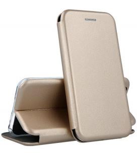 """Auksinės spalvos atverčiamas dėklas Huawei P40 Lite E telefonui """"Book Elegance"""""""