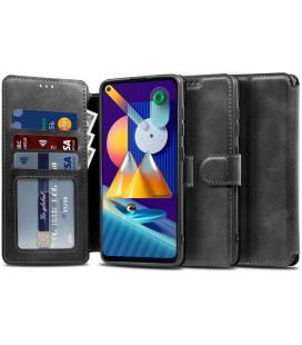 """Juodas atverčiamas dėklas Samsung Galaxy M11 telefonui """"Tech-protect Wallet"""""""