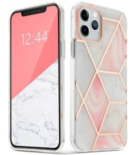 """Rožinis dėklas su marmuro efektu Apple iPhone 12/12 Pro telefonui """"Tech-Protect Marble 2"""""""