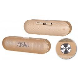 """Nešiojama auksinės spalvos belaidė Bluetooth ir FM garso kolonėlė """"Apollo S207"""""""