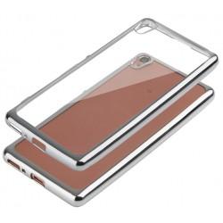 """Sidabrinės spalvos silikoninis dėklas Sony Xperia E5 telefonui """"Glossy"""""""