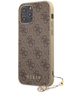 "Rudas dėklas Apple iPhone 12/12 Pro telefonui ""GUHCP12MGF4GBR Guess 4G Charms Cover"""
