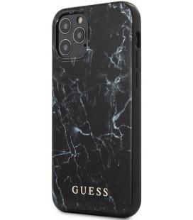 "Juodas dėklas Apple iPhone 12/12 Pro telefonui ""GUHCP12MPCUMABK Guess PC/TPU Marble Cover"""