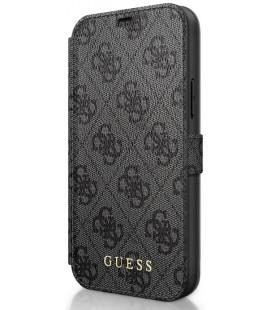 """Pilkas atverčiamas dėklas Apple iPhone 12/12 Pro telefonui """"GUFLBKSP12M4GG Guess 4G Book Case"""""""