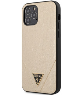 "Auksinės spalvos dėklas Apple iPhone 12/12 Pro telefonui ""GUHCP12MVSATMLLG Guess Saffiano V Stitch Cover"""