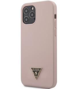 """Šviesiai rožinis dėklas Apple iPhone 12/12 Pro telefonui """"GUHCP12MLSTMLP Guess Silicone Metal Triangle Cover"""""""