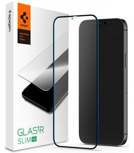 """Juodas apsauginis grūdintas stiklas Apple iPhone 12/12 Pro telefonui """"Spigen Glas.TR Slim HD"""""""