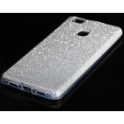 """Sidabrinės spalvos silikoninis blizgantis dėklas Huawei P9 Lite telefonui """"Blink"""""""
