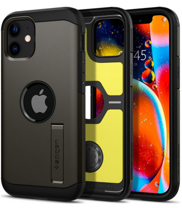 "Pilkas dėklas Apple iPhone 12 Mini telefonui ""Spigen Tough Armor"""