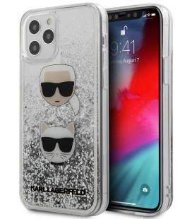 "Sidabrinės spalvos dėklas Apple iPhone 12/12 Pro telefonui ""KLHCP12MKCGLSL Karl Lagerfeld Liquid Glitter 2 Heads Cover"""