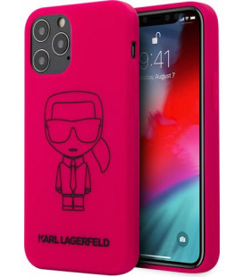 "Rožinis dėklas Apple iPhone 12/12 Pro telefonui ""KLHCP12MSILFLPI Karl Lagerfeld Iconic Outline Silicone Cover"""