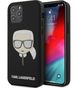 "Juodas dėklas Apple iPhone 12/12 Pro telefonui ""KLHCP12MGLBK Karl Lagerfeld Glitter Head Cover"""