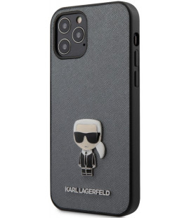"Pilkas dėklas Apple iPhone 12/12 Pro telefonui ""KLHCP12MIKMSSL Karl Lagerfeld Saffiano Iconic Cover"""