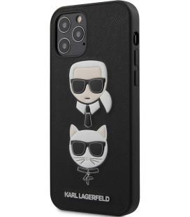 """Juodas dėklas Apple iPhone 12/12 Pro telefonui """"KLHCP12MSAKICKCBK Karl Lagerfeld Saffiano K&C Heads Cover"""""""