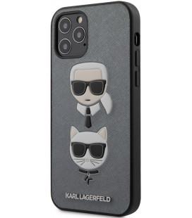 "Pilkas dėklas Apple iPhone 12/12 Pro telefonui ""KLHCP12MSAKICKCSL Karl Lagerfeld Saffiano K&C Heads Cover"""
