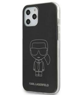 "Juodas dėklas Apple iPhone 12/12 Pro telefonui ""KLHCP12MPCUMIKBK Karl Lagerfeld PC/TPU Metallic Iconic Outline Cover"""